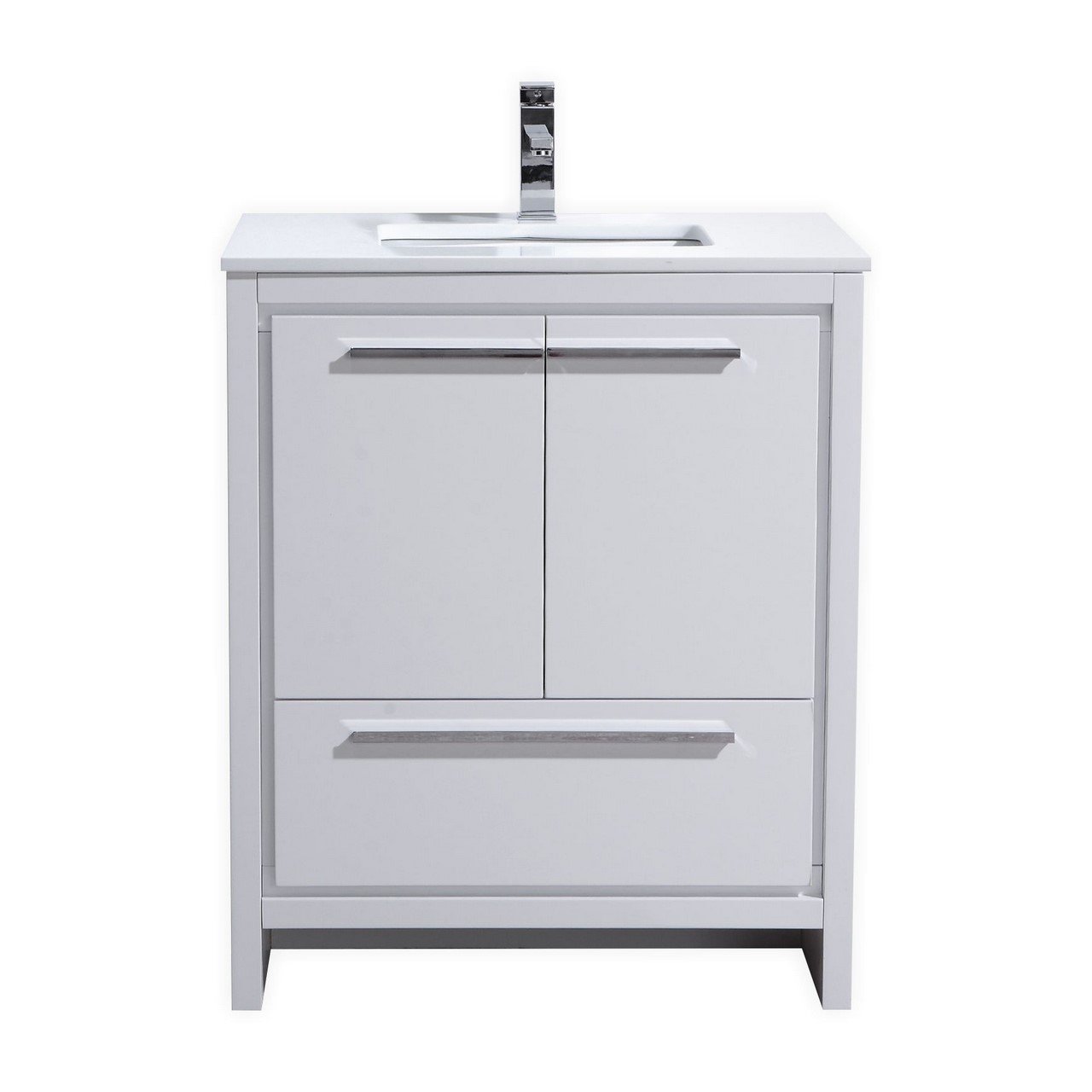 KubeBath Dolce 30u2033 High Gloss White Modern Bathroom Vanity With White  Quartz Counter Top ...