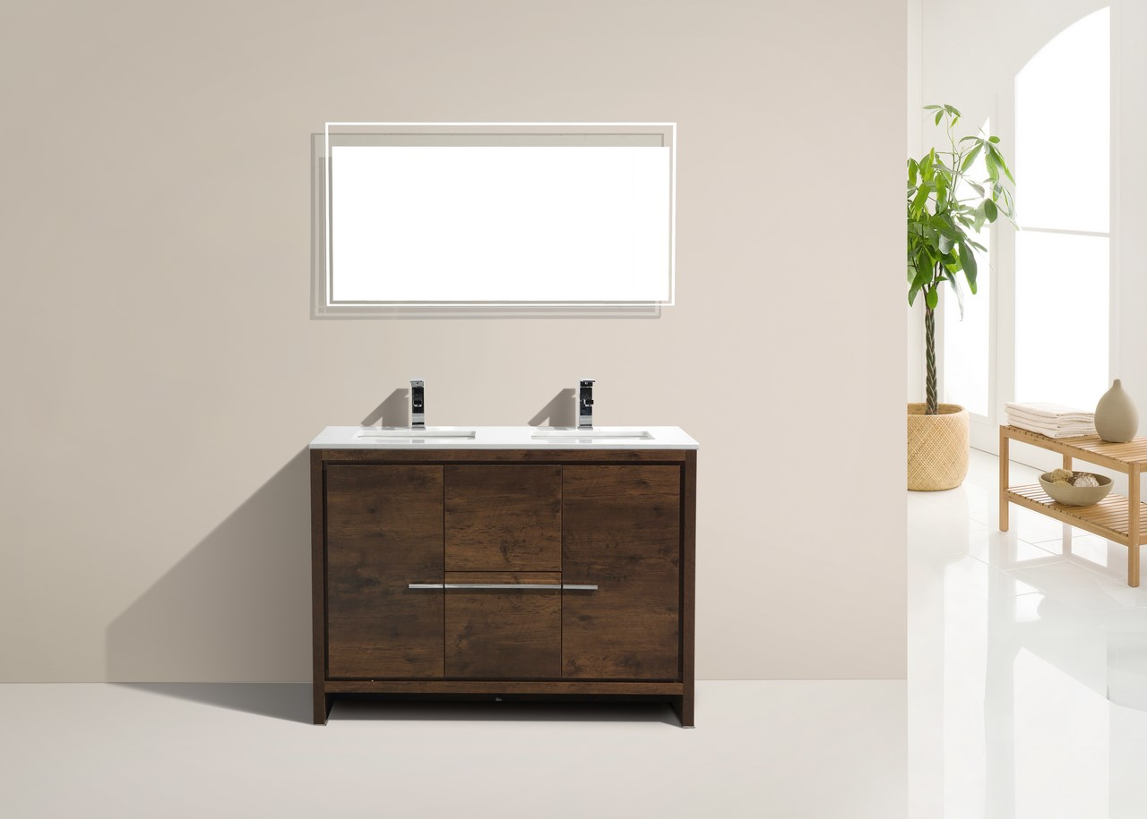 Dolce 48 Double Sink Rose Wood Vanity With White Countertop