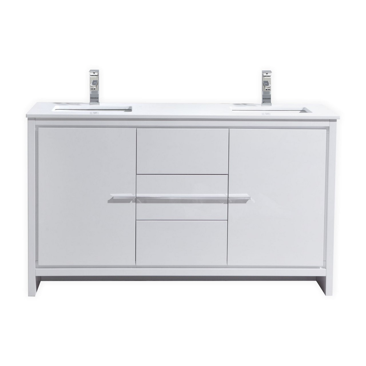 KubeBath Dolce 60u2033 Double Sink High Gloss White Modern Bathroom Vanity With  White Quartz Counter ...