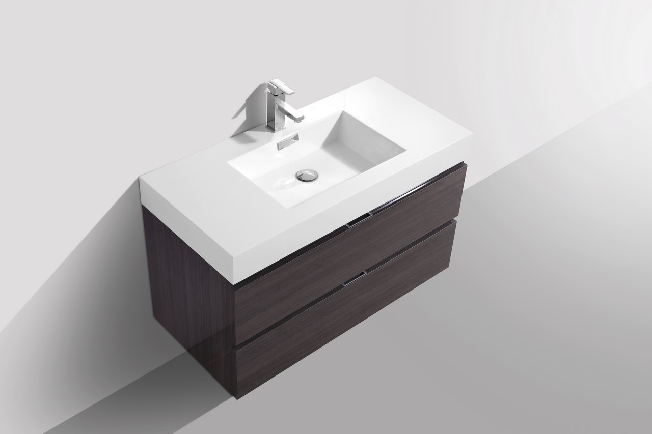 Bliss 40 Quot High Gloss Gray Oak Wall Mount Modern Bathroom