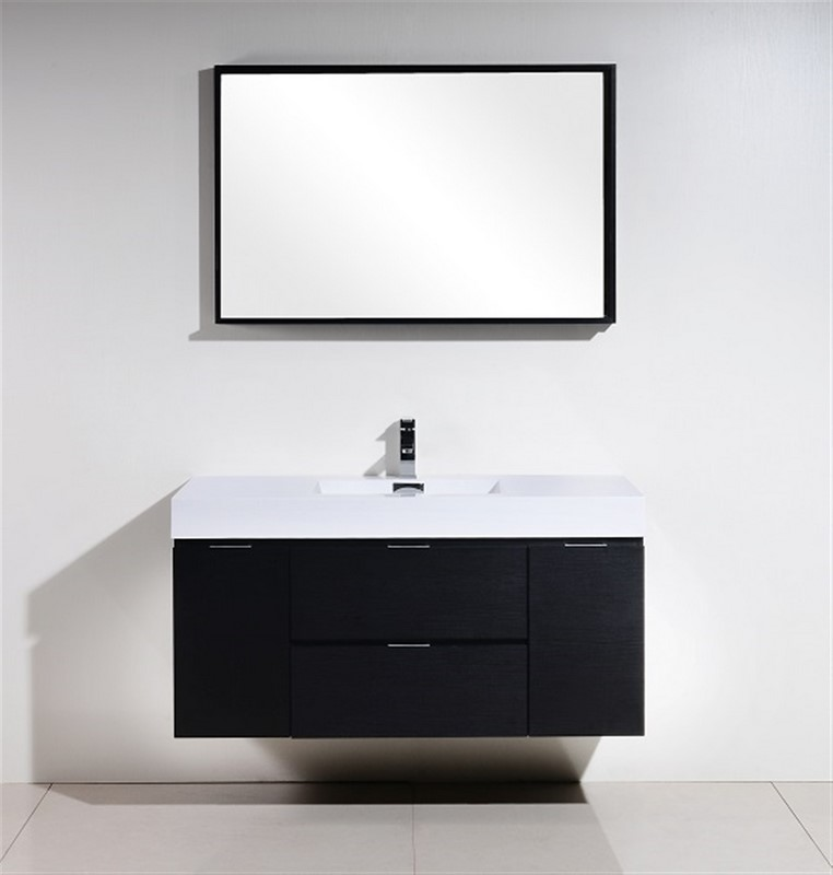Bliss 48 Black Wall Mount Single Sink Modern Bathroom Vanity