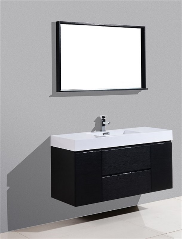 Bliss 48 Black Wall Mount Single Sink Modern Bathroom Vanity Vanities