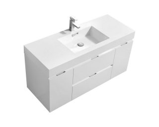 "Bliss 48"" High Gloss White Wall Mount Modern Bathroom Vanity"