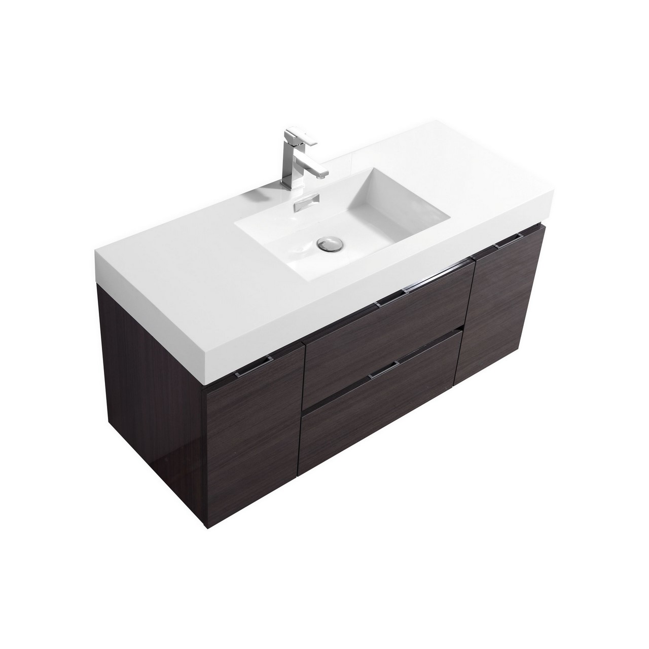 bliss 48 high gloss gray oak wall mount single sink modern bathroom vanity