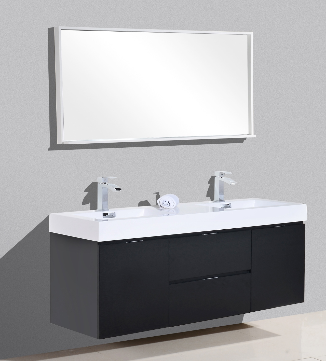 Bliss 60 black wall mount double sink modern bathroom vanity - Modern bathroom vanity double sink ...