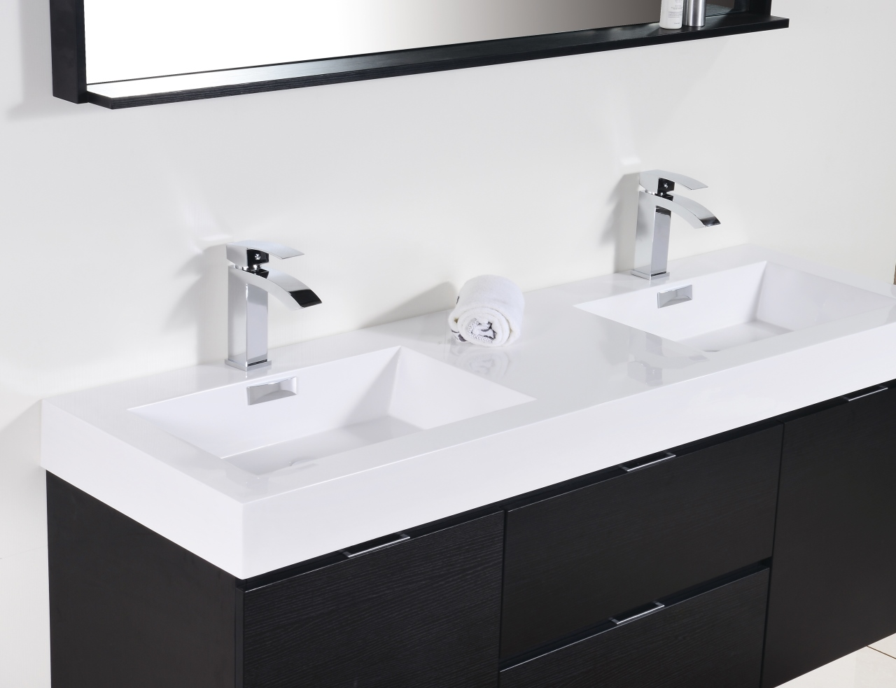"Bliss 60"" Black Wall Mount Double Sink Modern Bathroom Vanity"