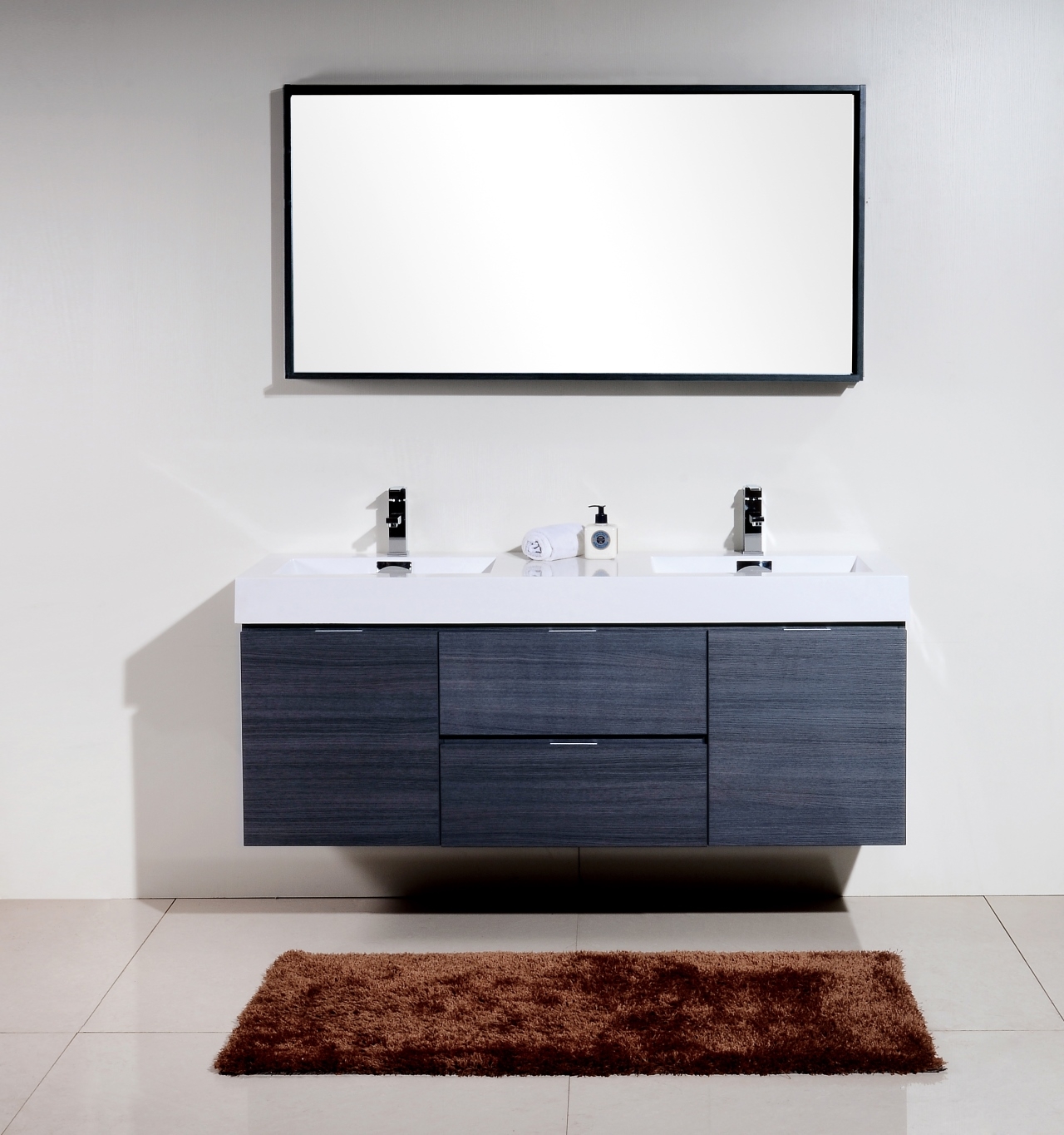 Bliss 60 gray oak wall mount double sink modern bathroom vanity - Contemporary european designer bathroom vanities ...