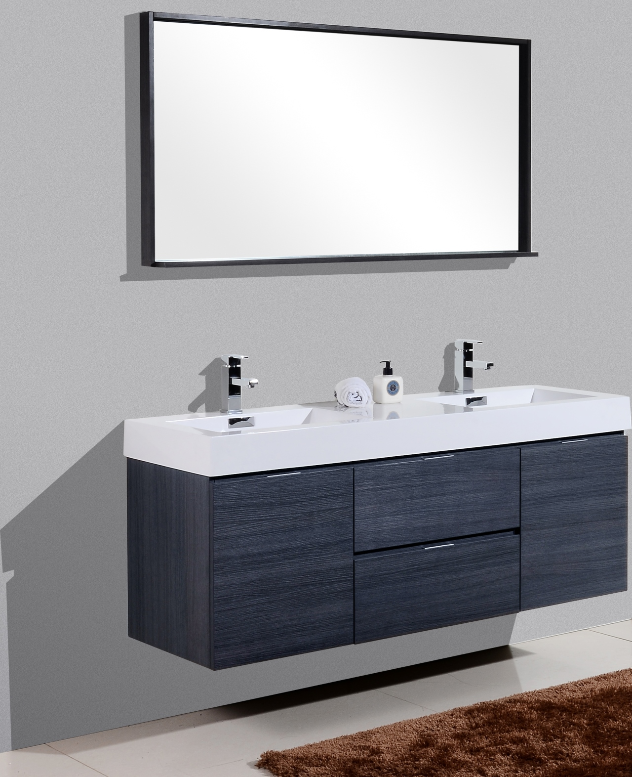 "bliss 60"" gray oak wall mount double sink modern bathroom"
