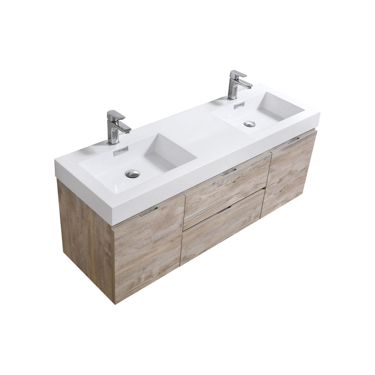 Bliss 60 nature wood wall mount double sink modern for Double sink bathroom vanity