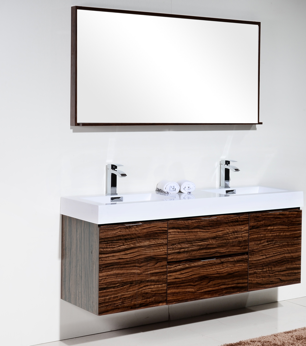 Bliss 60  Walnut Wall Mount Double Sink Modern Bathroom Vanity Vanities
