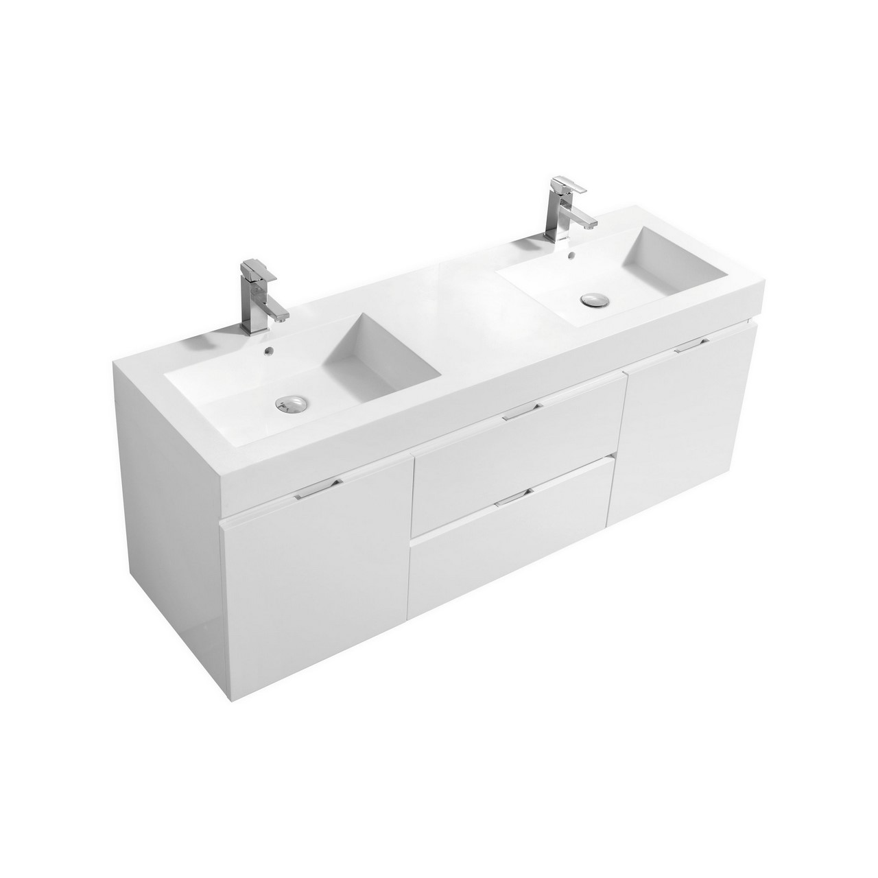 Bliss 60 high gloss white wall mount double sink vanity - Modern bathroom vanity double sink ...