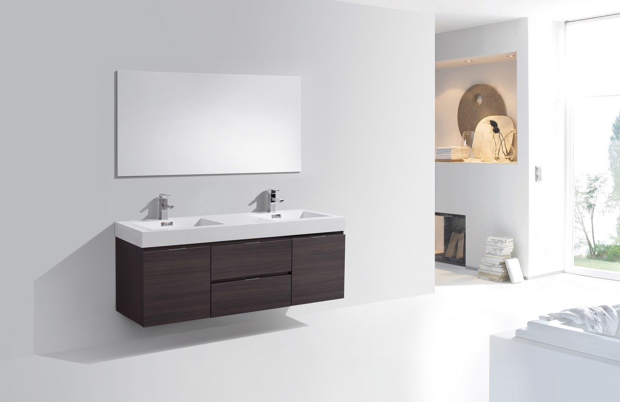 gray double sink vanity. bliss 60\u2033 high gloss gray oak wall mount double sink modern bathroom vanity vanities, bliss, vanities