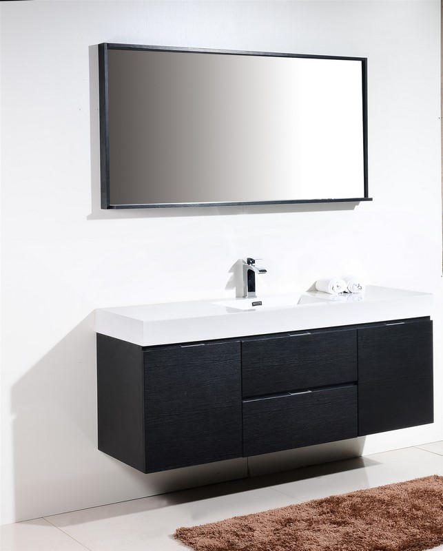 Bliss Black Wall Mount Single Sink Modern Bathroom Vanity