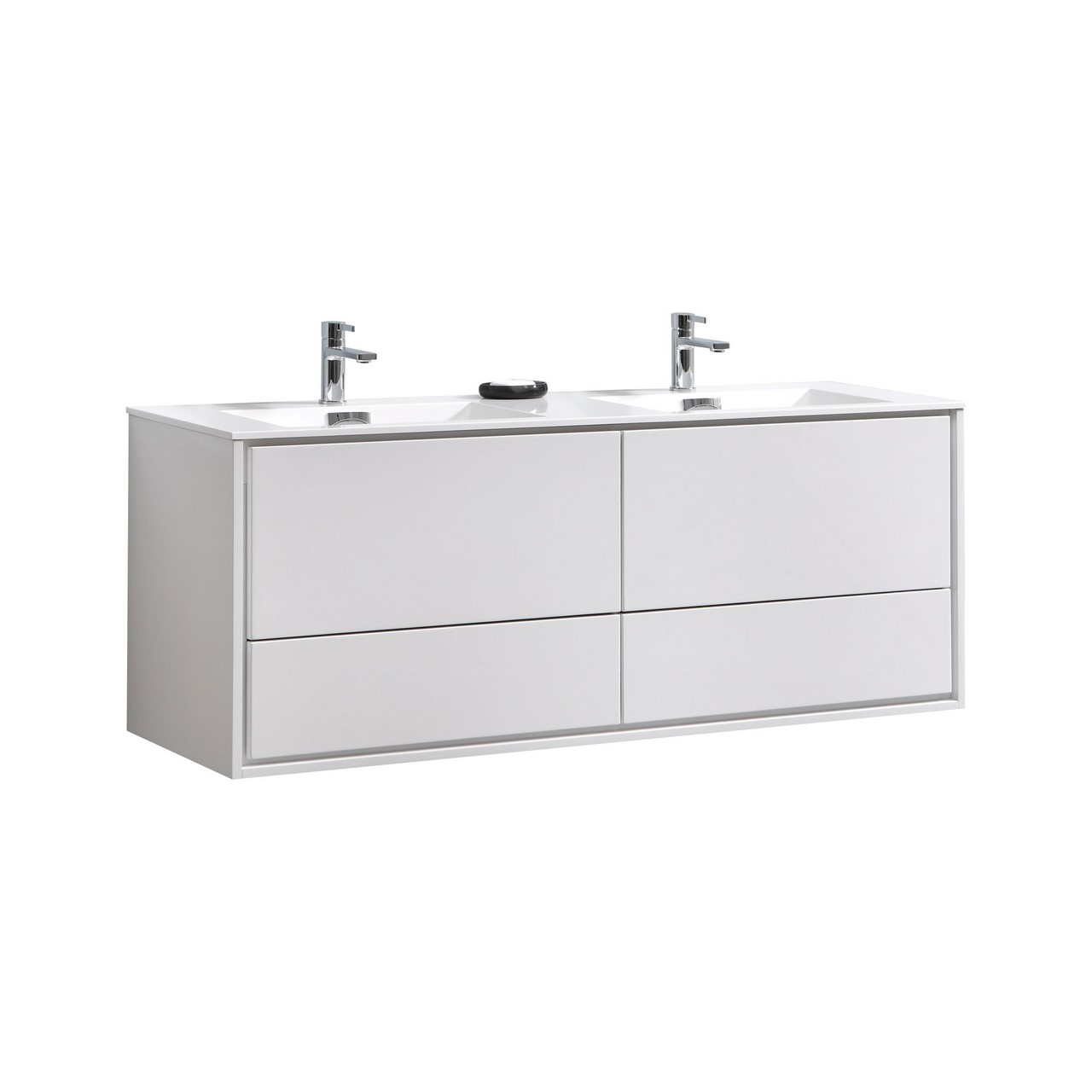 De Lusso 60 Double Sink High Glossy White Wall Mount Vanity