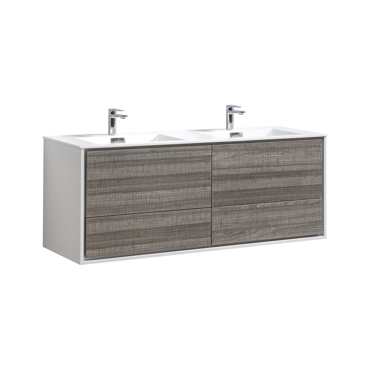 De lusso 60 double sink ash gray wall mount modern bathroom vanity kubebath - Modern bathroom vanity double sink ...