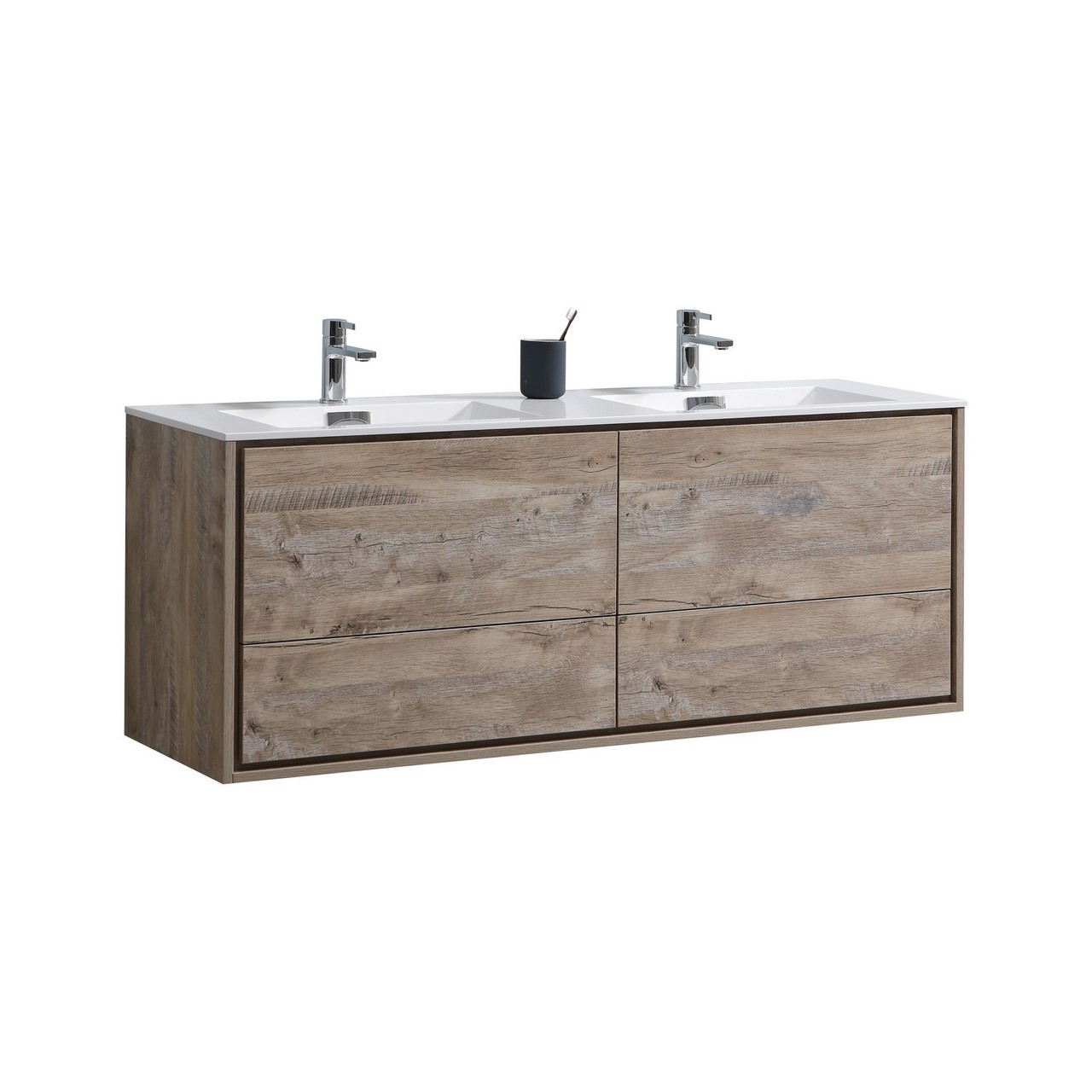De lusso 60 double sink nature wood wall mount modern bathroom vanity kubebath - Modern bathroom vanity double sink ...