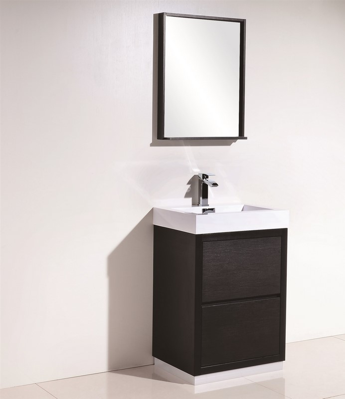 Bliss 24 black free standing modern bathroom vanity for Freestanding 24 inch bathroom vanity