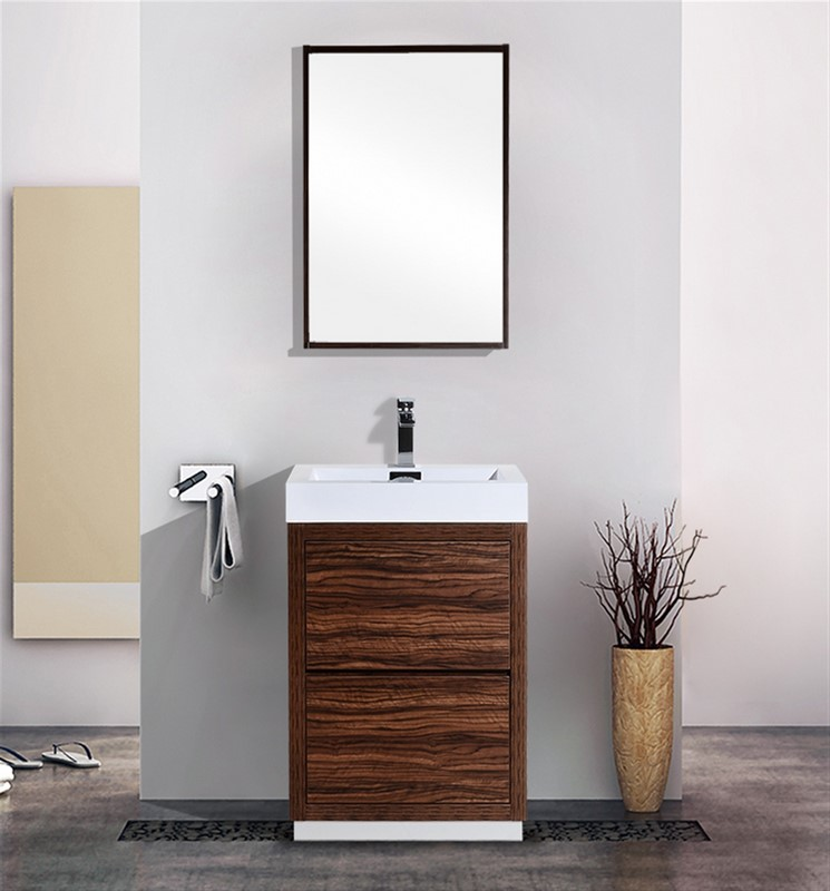 Bliss 24 walnut free standing modern bathroom vanity for Freestanding 24 inch bathroom vanity