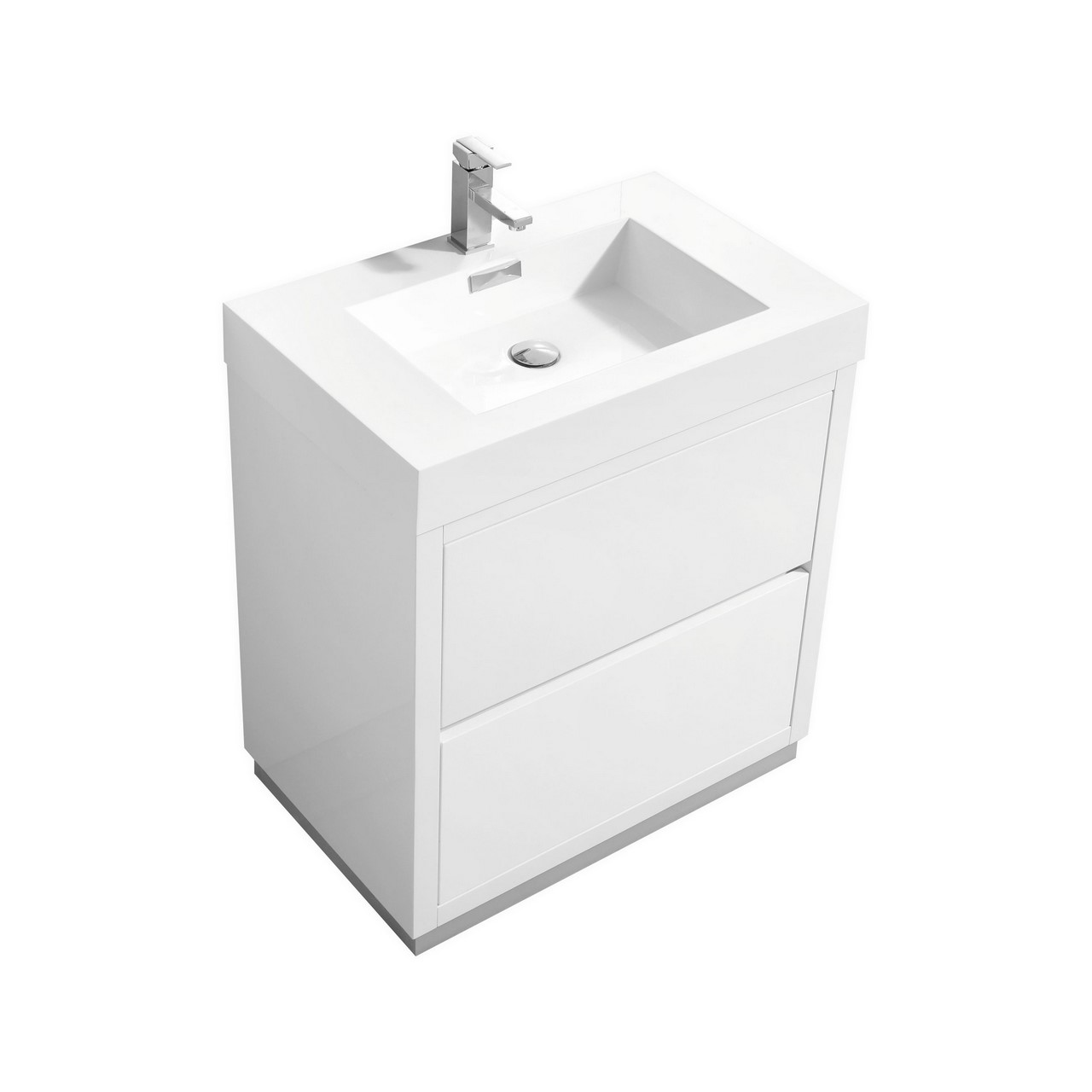 Bliss 30 high gloss white free standing modern bathroom vanity for White bathroom cabinets free standing