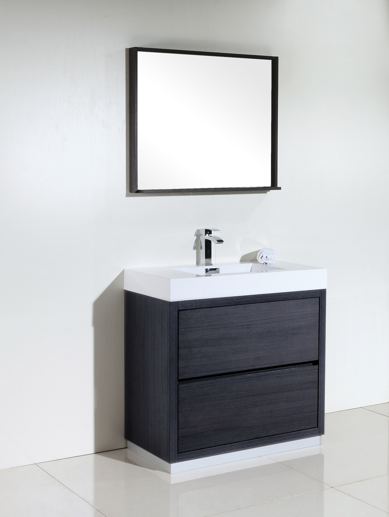 Bliss 36 Gray Oak Free Standing Modern Bathroom Vanity