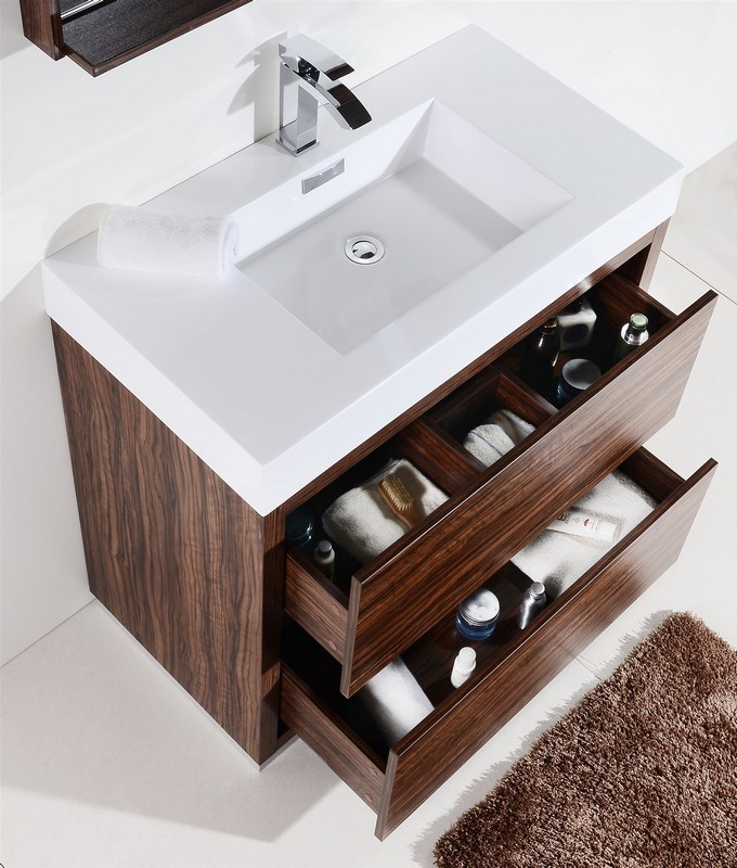 Bliss Walnut Free Standing Modern Bathroom Vanity - Modern free standing bathroom vanities