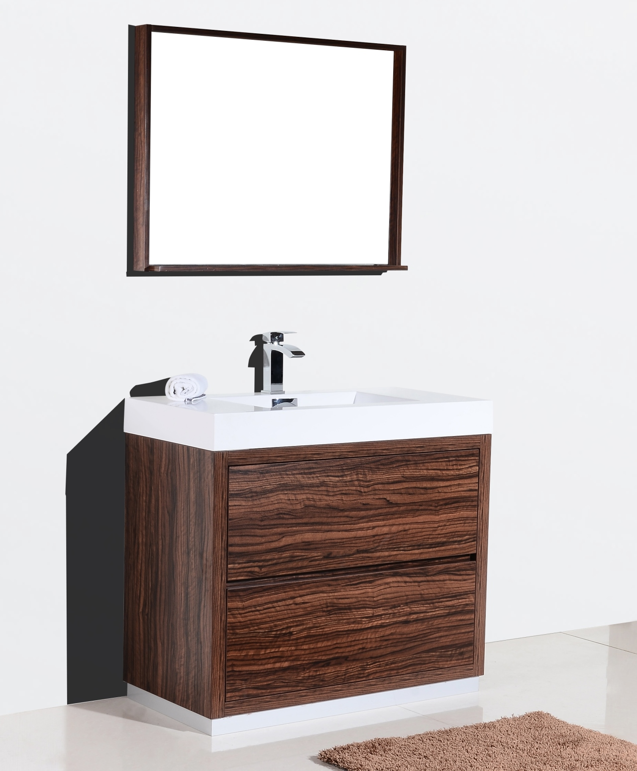 Bliss 40 Walnut Free Standing Modern Bathroom Vanity