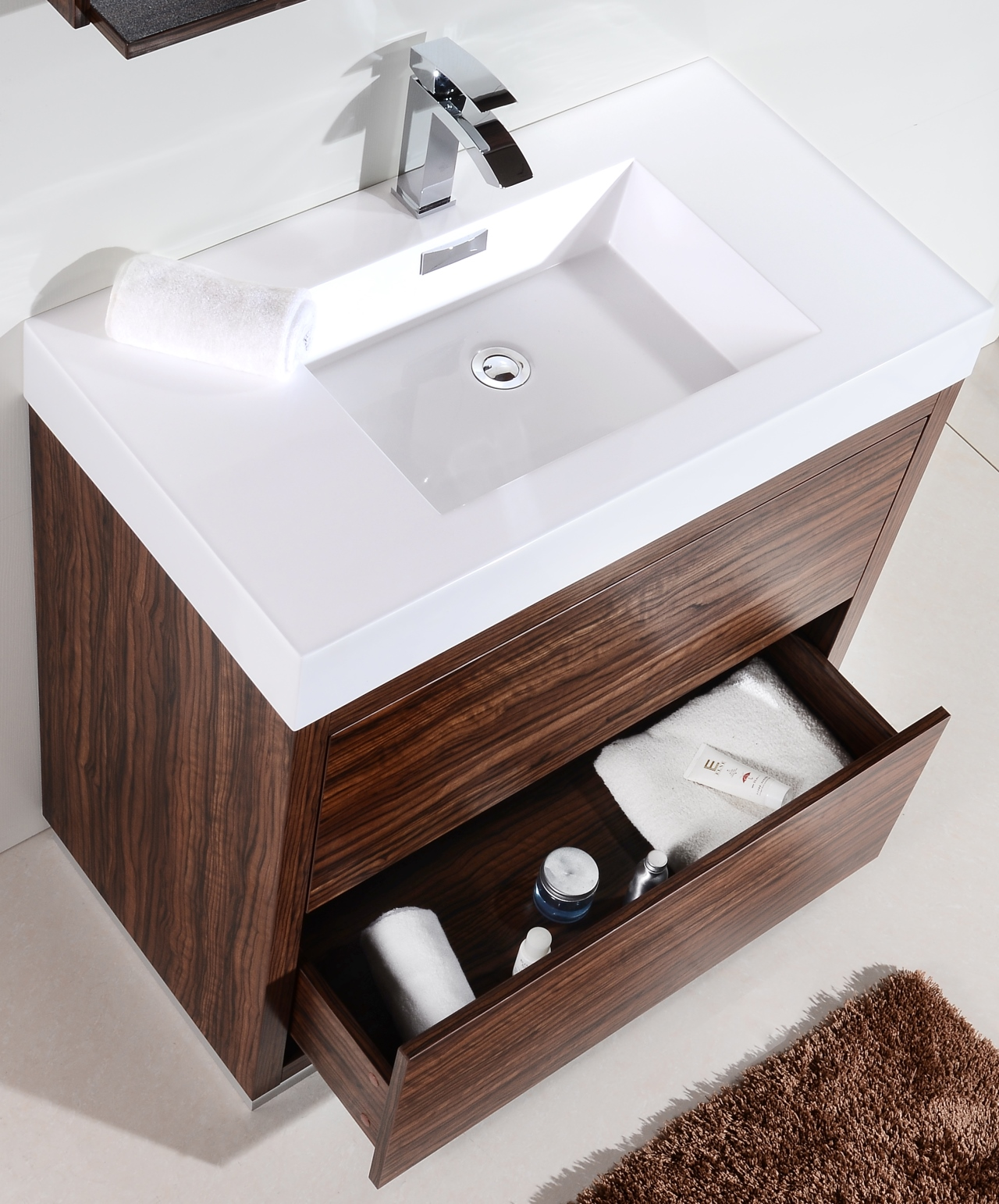 Bliss 40u2033 Walnut Free Standing Modern Bathroom Vanity Vanities, Bliss