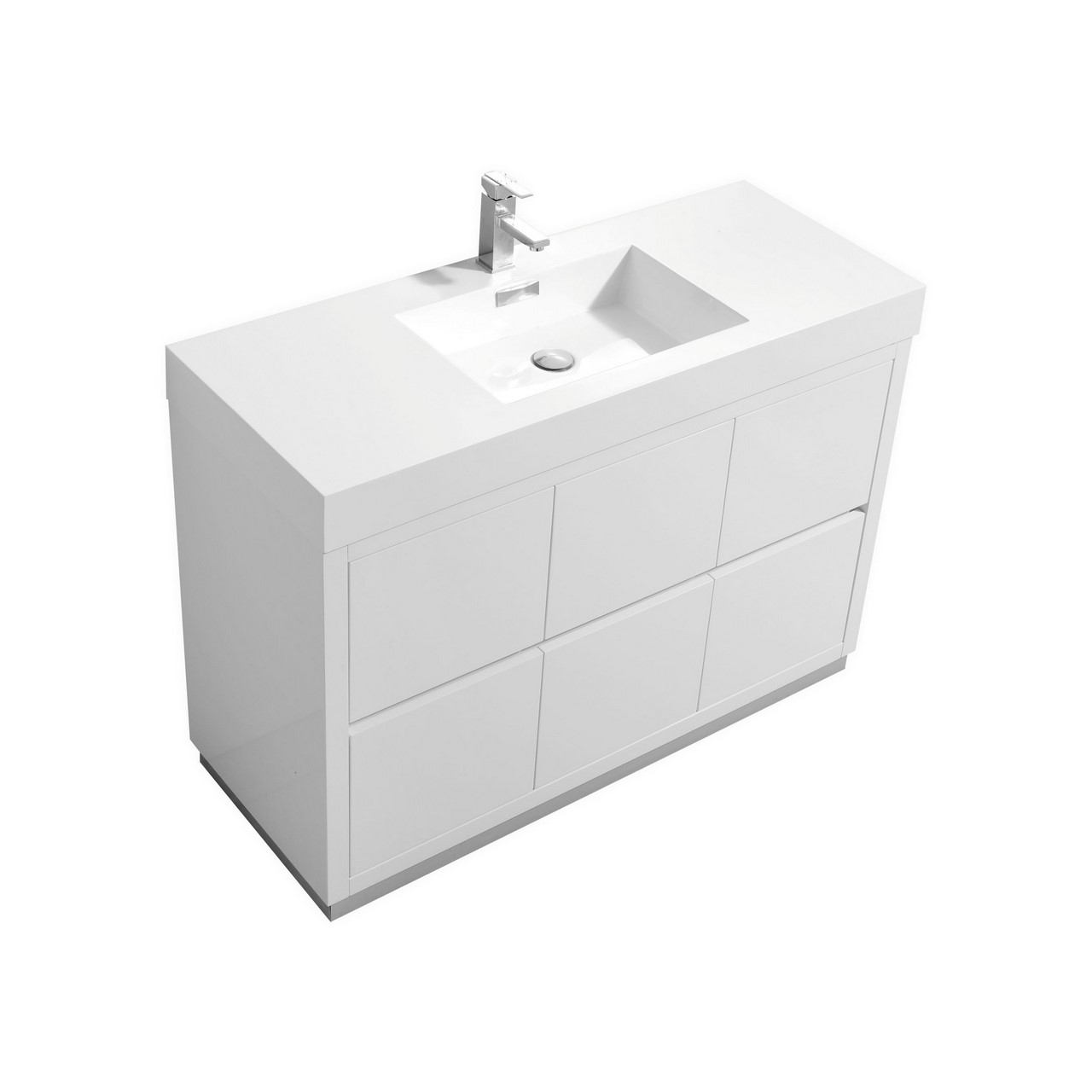 Bliss 48 High Gloss White Free Standing Modern Bathroom Vanity