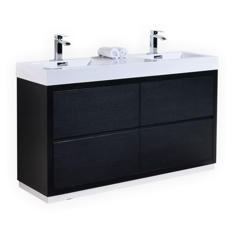 Bliss 60 Double Sink Black Free Standing Modern Bathroom Vanity