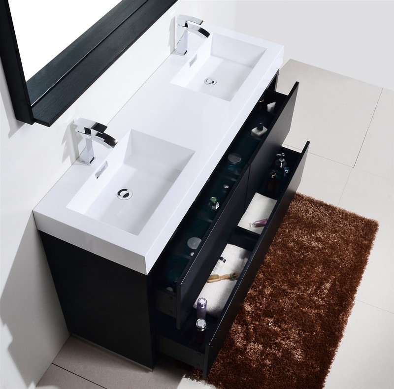 Bliss 60 double sink black free standing modern bathroom - Free standing bathroom sink vanity ...