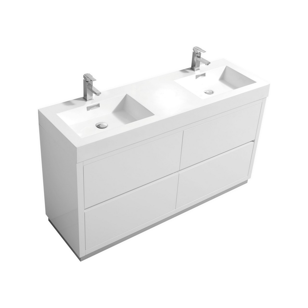 Bliss 60 Double Sink High Gloss White Free Standing Vanity
