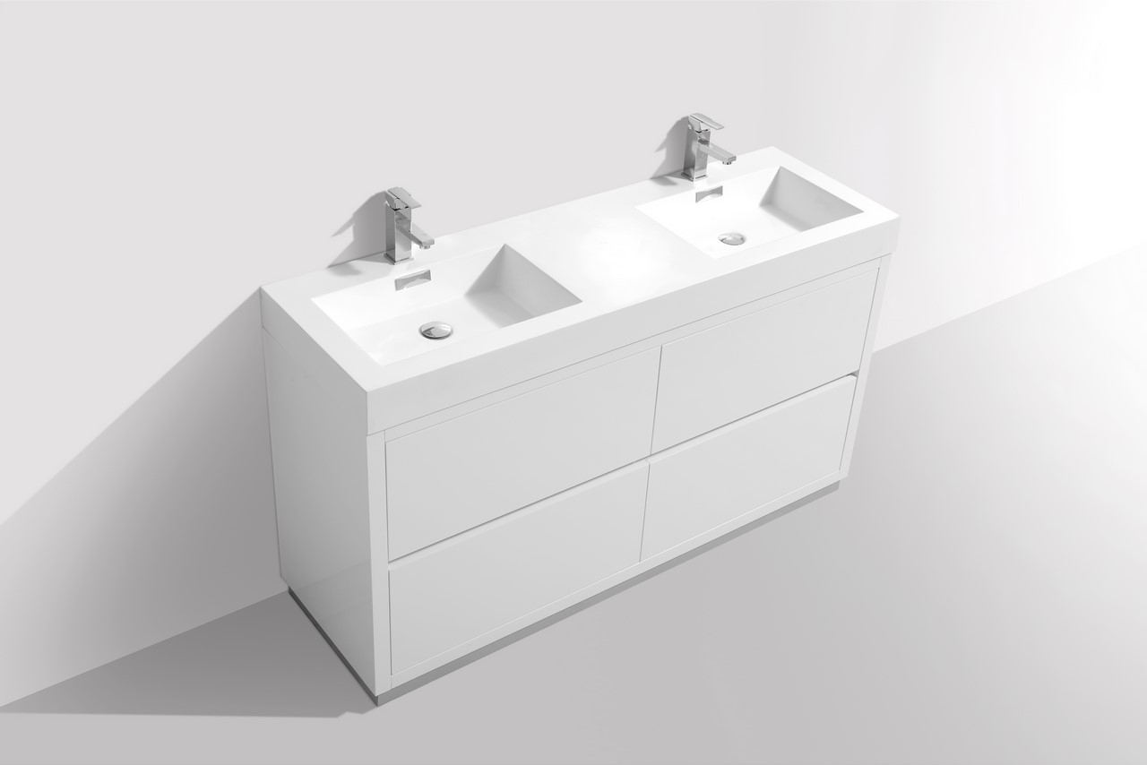 bliss 60 double sink high gloss white free standing vanity. Black Bedroom Furniture Sets. Home Design Ideas