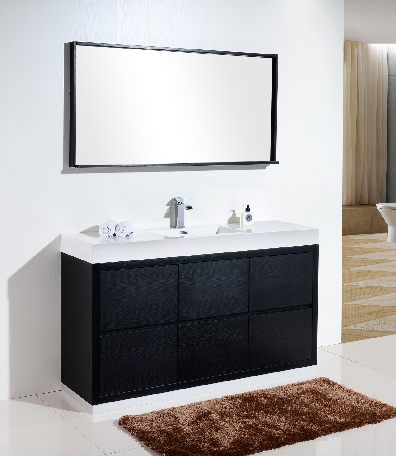 Bliss 60 Quot Single Sink Black Free Standing Modern Bathroom