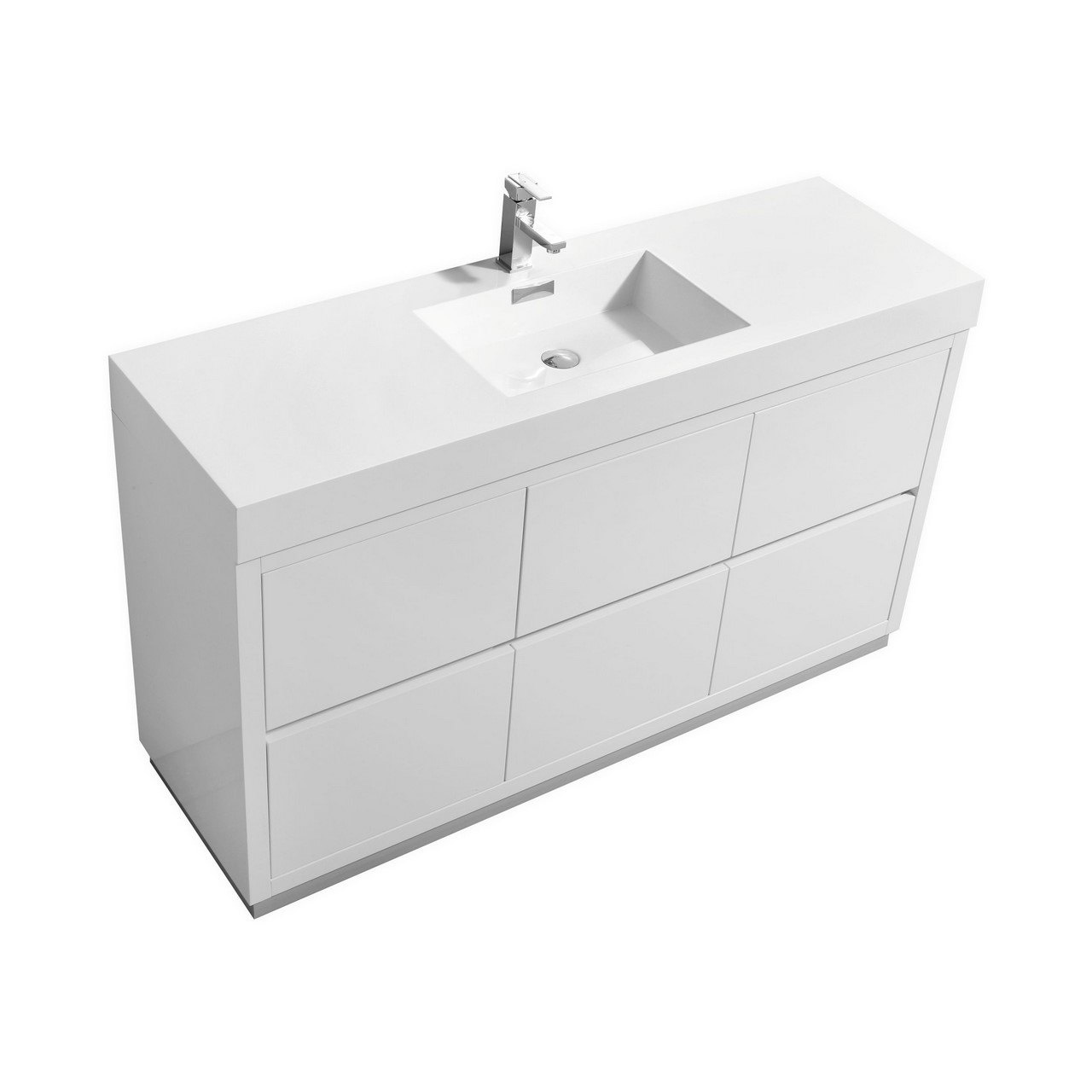 Bliss 60 Single Sink High Gloss White Free Standing Vanity