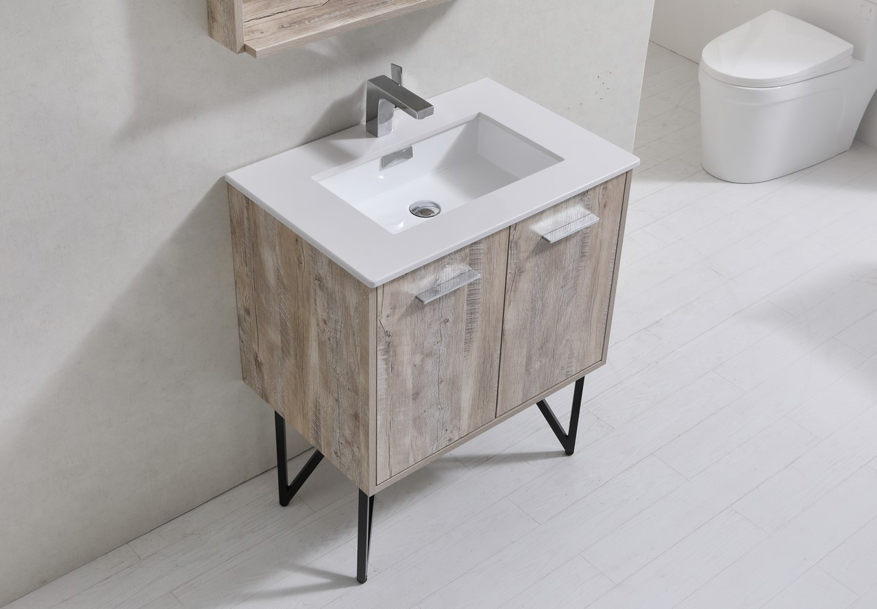 Bosco Modern Bathroom Vanity W Quartz Countertop - 30 inch contemporary bathroom vanity