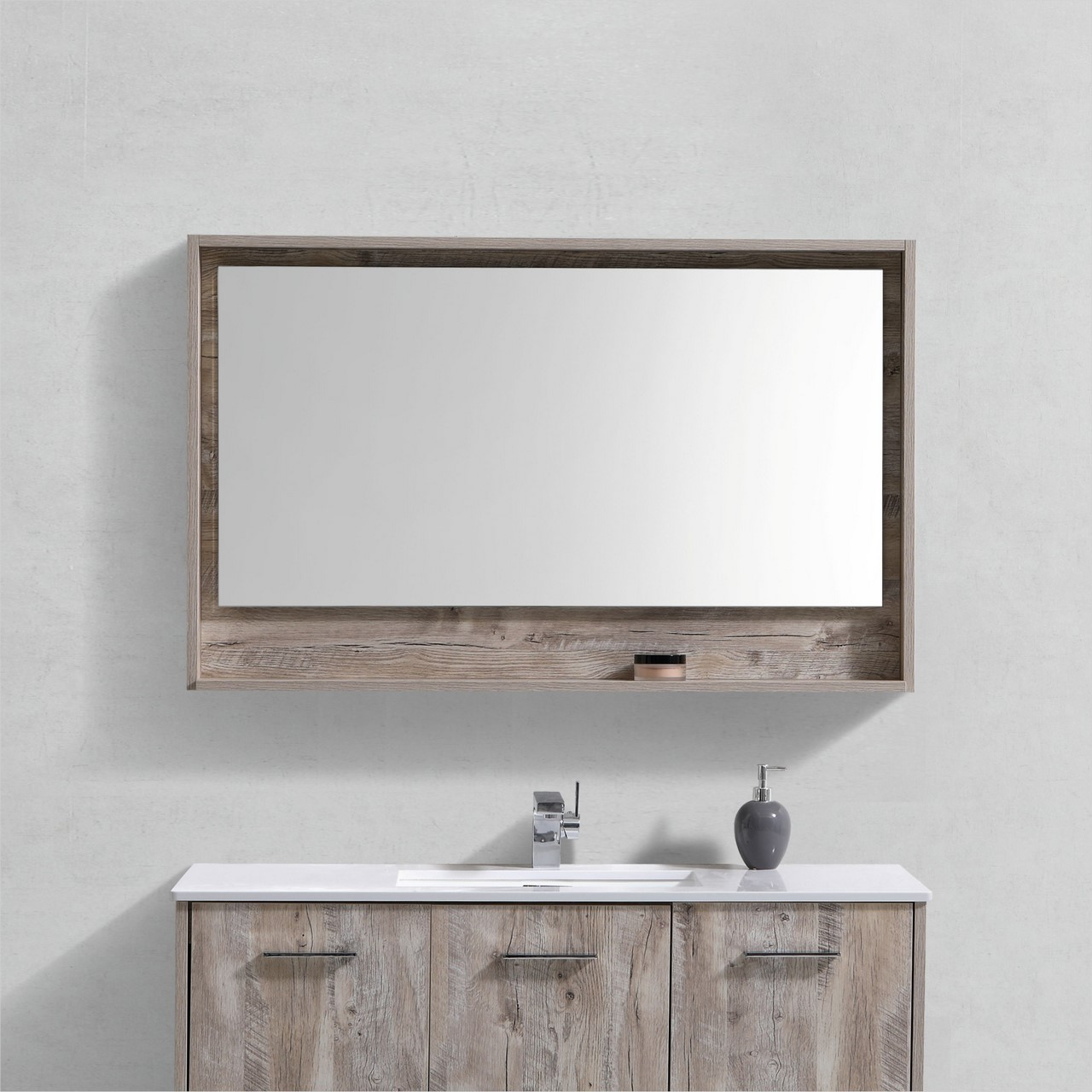48 Wide Mirror W Shelf Nature Wood Framed Mirrors