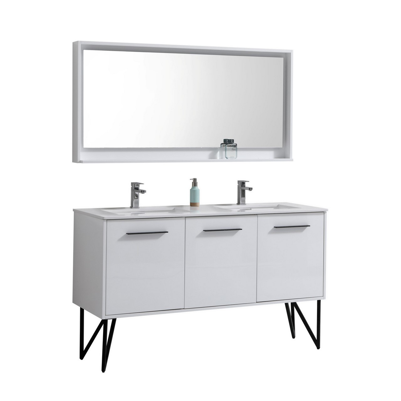 Simple  Bathroom Vanity Integrated SinkTop Matching Framed Mirror