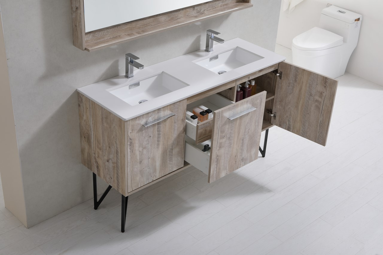 Bosco 60u2033 Modern Bathroom Vanity W/ Quartz Countertop Bosco, Vanities,  Double Sink Vanities