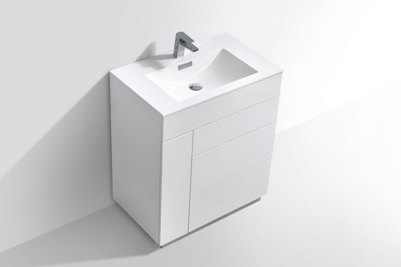 Milano 30 Quot Gloss White Floor Mount Modern Bathroom Vanity
