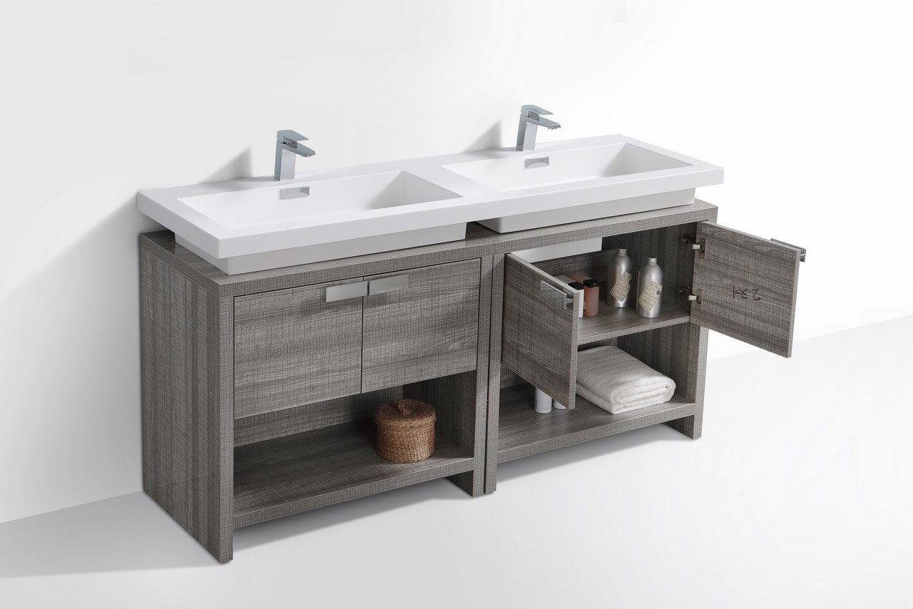 Levi 63 Ash Gray Double Sink Modern Bathroom Vanity W Cubby Hole Kubebath