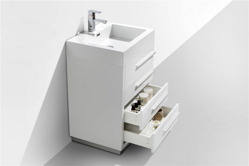 24 Quot High Gloss White Modern Bathroom Vanity W Four Drawers