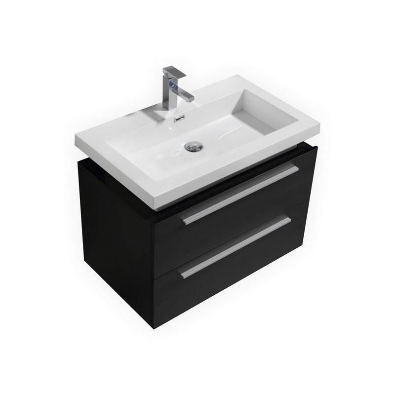 32 Tona Black Wall Mount Modern Bathroom Vanity With Vessel Sink