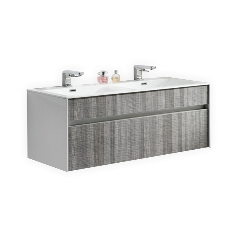 Fitto 48 double sink ash gray wall mount modern bathroom vanity - Modern bathroom vanity double sink ...