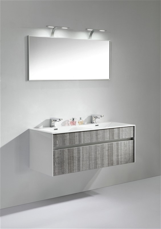 Fitto 48 Double Sink Ash Gray Wall Mount Modern Bathroom Vanity