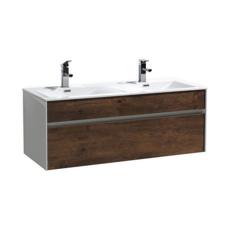 Fitto 48 Quot Double Sink Rose Wood Wall Mount Modern Bathroom