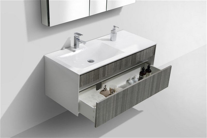 Fitto 48u2033 Ash Gray Wall Mount Modern Bathroom Vanity Fitto, Vanities