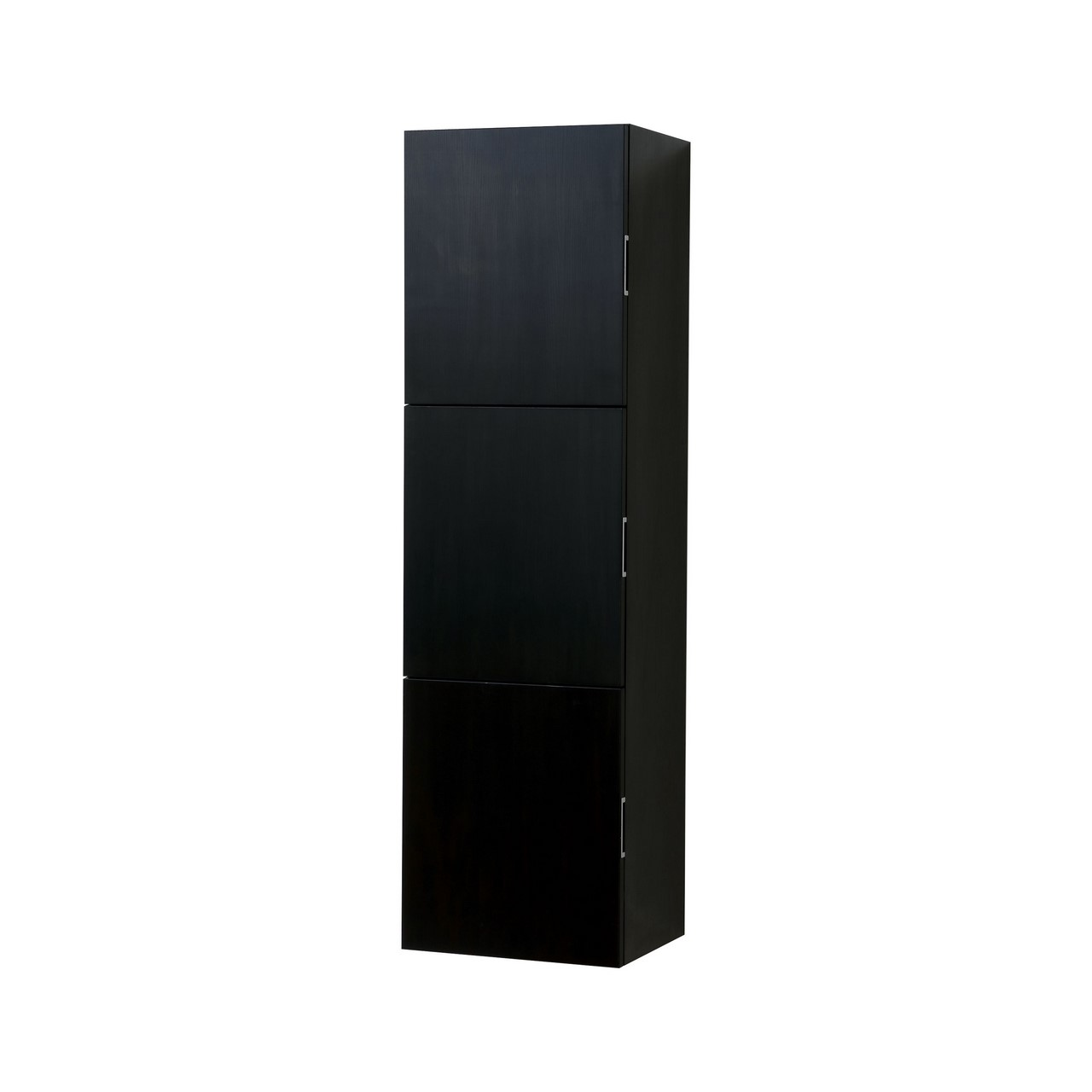 Black Wood Bathroom Linen Cabinet W/ 3 Large Storage Areas