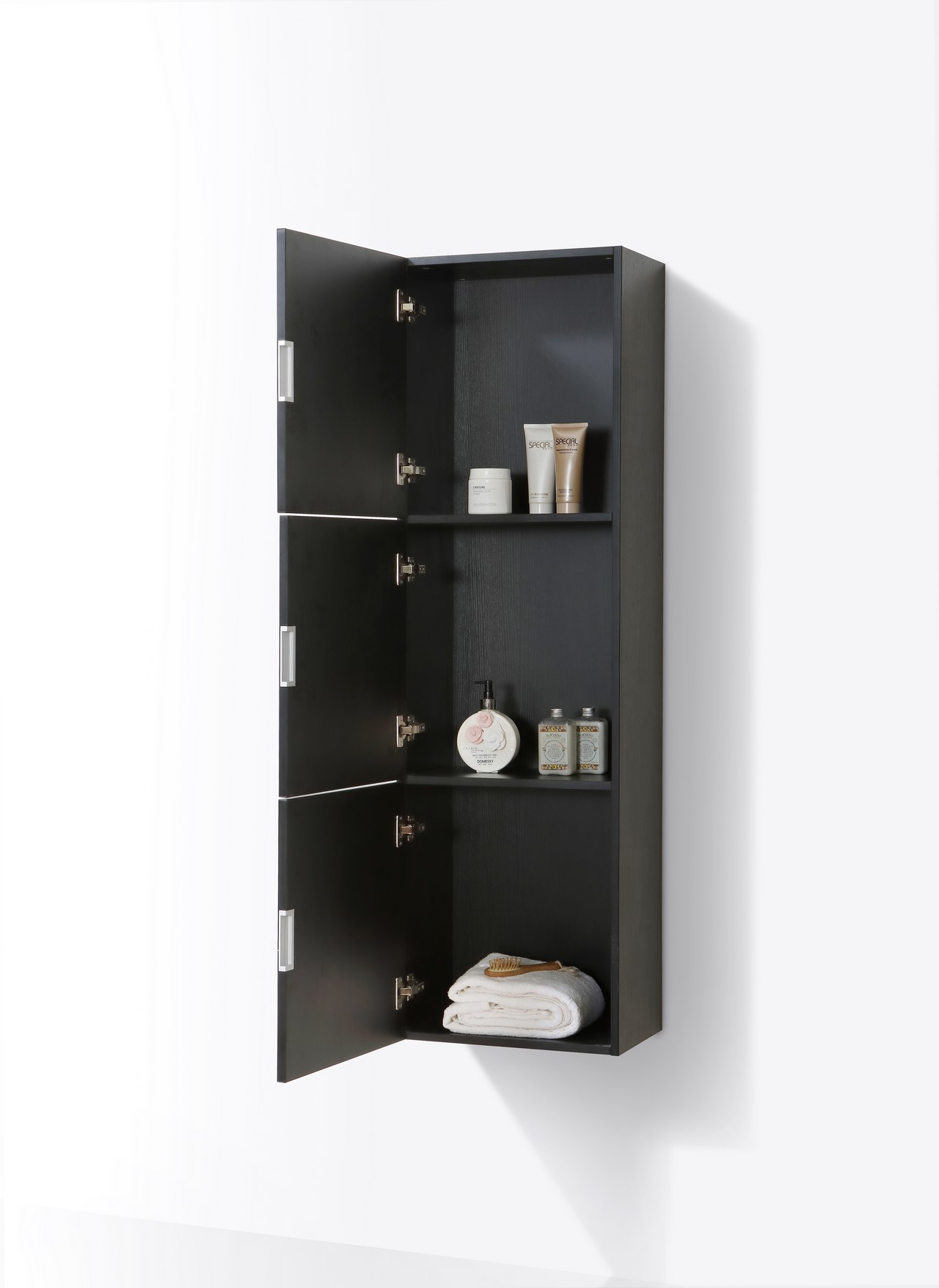bathroom side cabinets. Bathroom Black Wood Linen Side Cabinet W/ 3 Large Storage Areas Cabinets, Cabinets