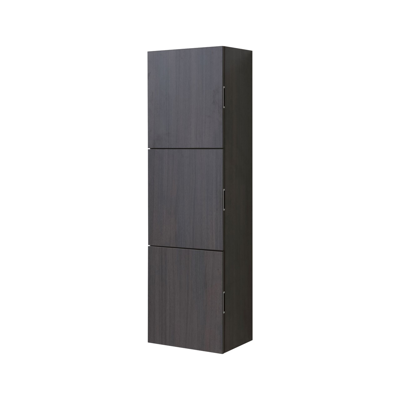 Bathroom High Gloss Gray Oak Linen Side Cabinet w/ 3 Large Storage ...