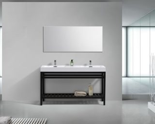 """Cisco 60"""" Double Sink Stainless Steel Console w/ White Acrylic Sink - Matte Black"""